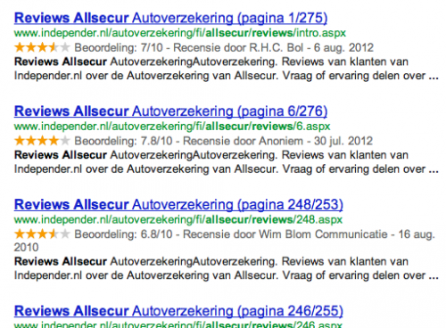 eerste pagina's van gepagineerde serie in Google's zoekresultaten